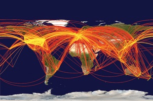 The movement of people around the globe, depicted here in a map of air traffic among the 500 largest international airports, can lead to the rapid spread of infectious disease. (Reprinted with permission from L. Hufnagle, D. Brockmann, and T. Geisel. Copyright 2004 National Academy of Sciences.)